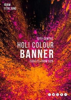 Modello di banner web per il festival di holi