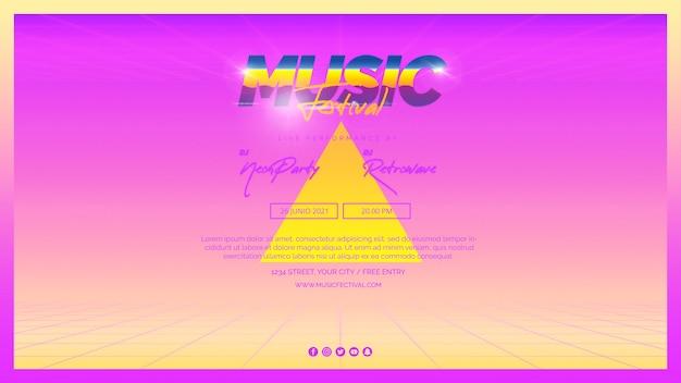 Modello di banner web per il festival musicale degli anni '80