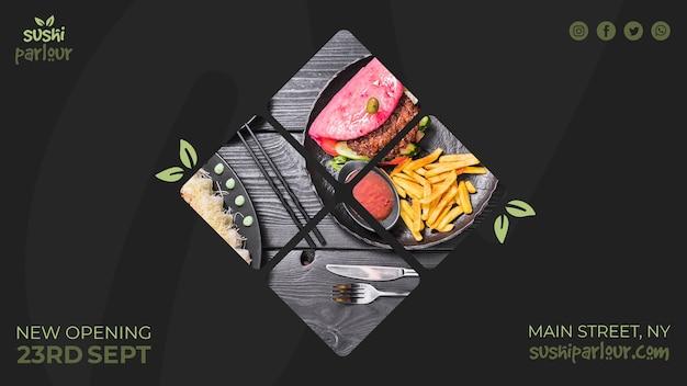 Modello di banner web per ristorante giapponese