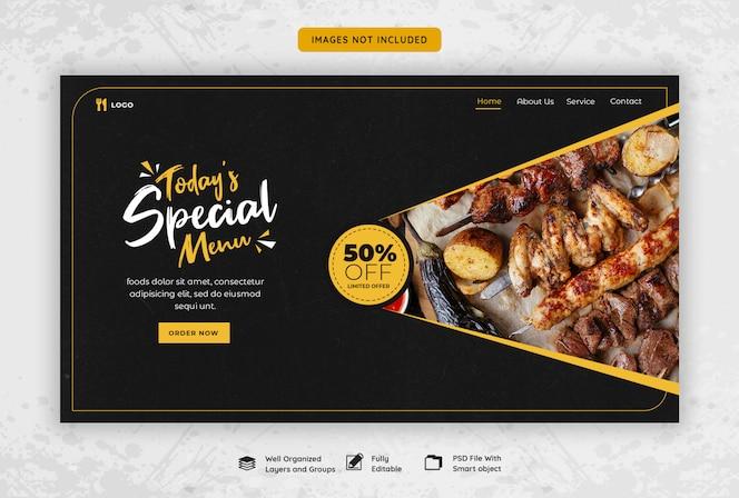 Modello di banner web ristorante cibo