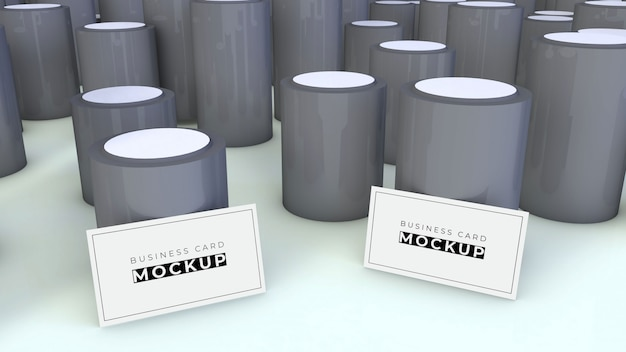 Modello di biglietto da visita con cilindri grigi
