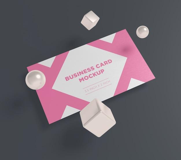 Modello di biglietto da visita con palla e scatola
