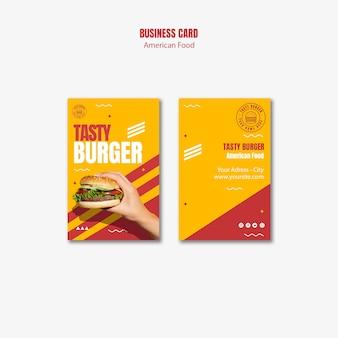 Modello di biglietto da visita di cibo americano hamburger
