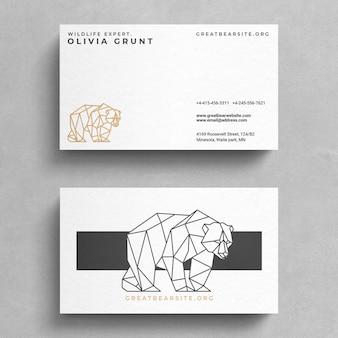 Modello di biglietto da visita minimale con logo dell'orso