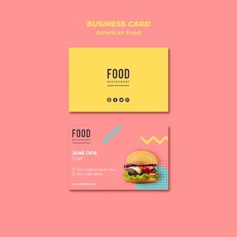 Modello di biglietto da visita per cibo americano con hamburger