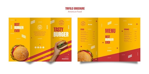 Modello di brochure a tre ante cibo americano burger