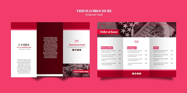 Modello di brochure a tre ante cibo americano