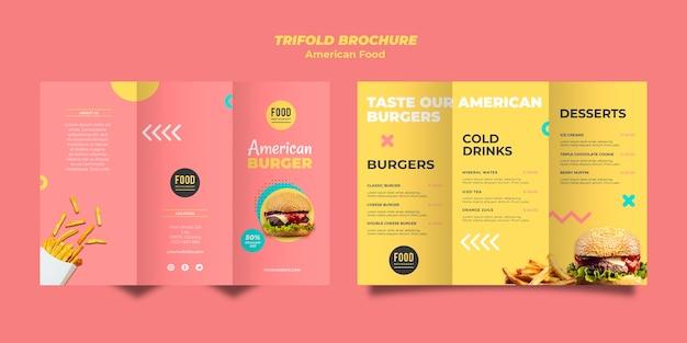 Modello di brochure a tre ante per cibo americano con hamburger