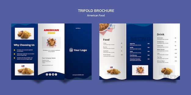 Modello di brochure a tre ante per ristorante americano