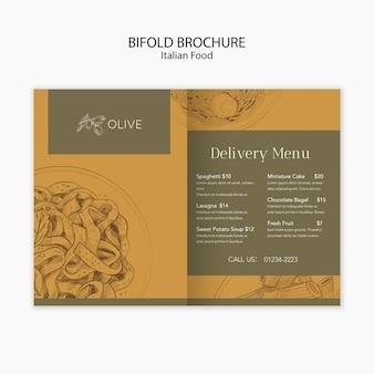 Modello di brochure bifold di cibo italiano