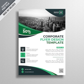 Modello di brochure business ondulato verde