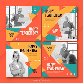 Modello di bundle post instagram di teachers day