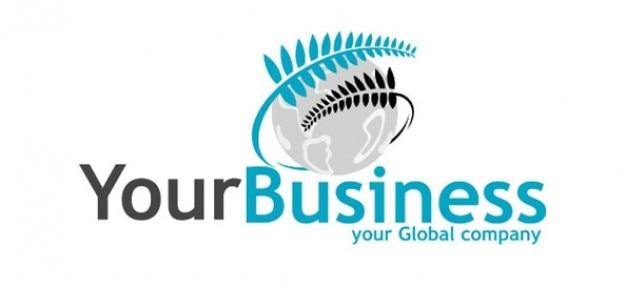 Modello di business logo con felce e terra