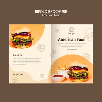 Modello di carta brochure cibo americano