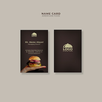 Modello di carta di nome burger