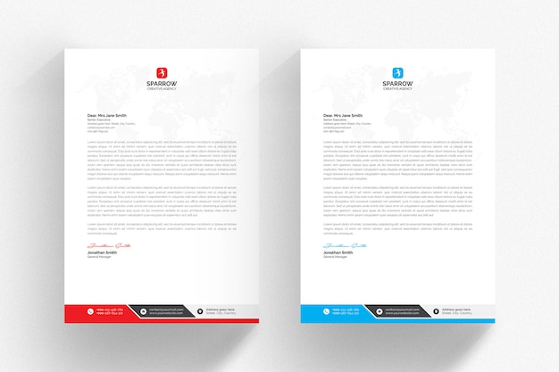 Modello di carta intestata bianca con dettagli blu e rossi