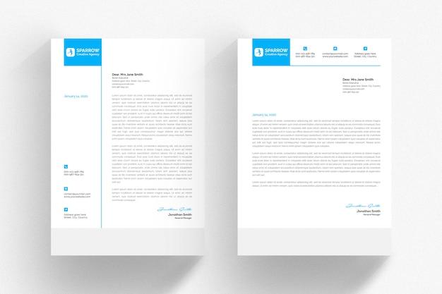 Modello di carta intestata bianca con dettagli blu