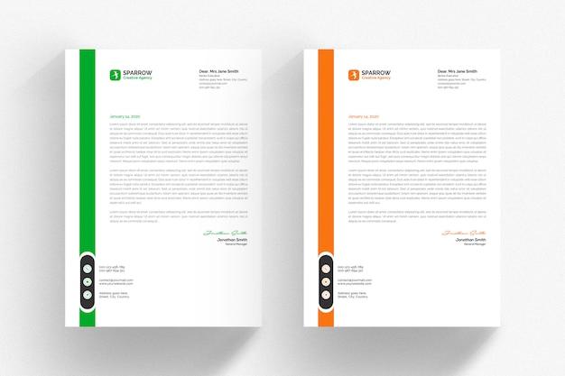 Modello di carta intestata bianca con dettagli verdi e arancioni