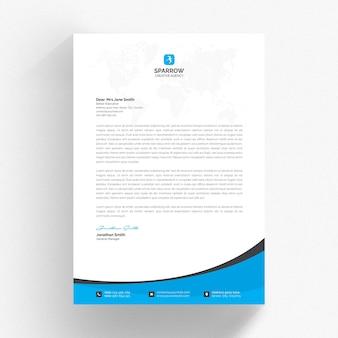 Modello di carta intestata bianco con dettagli blu