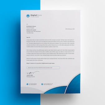 Modello di carta intestata professionale blu