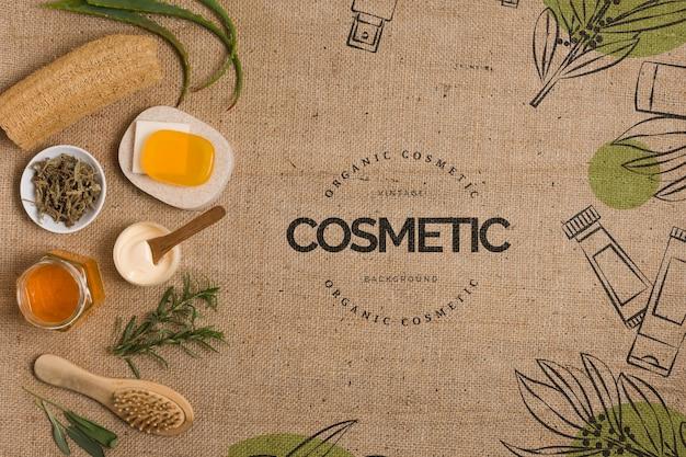 Modello di centro cosmetico piatto laico