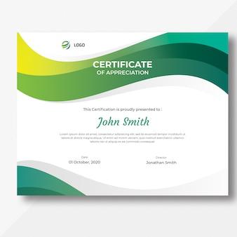 Modello di certificato di onde colorate