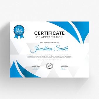 Modello di certificato moderno con dettagli blu