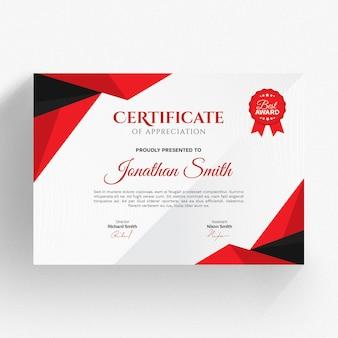 Modello di certificato moderno rosso e nero