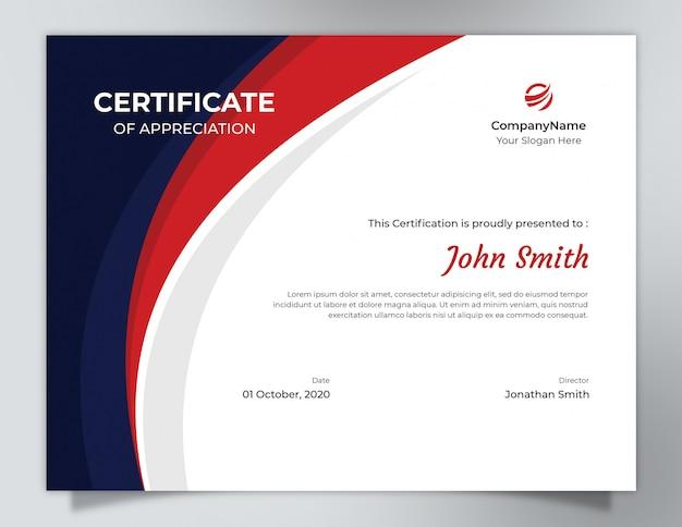 Modello di certificato onde blu scuro e rosso con motivo poligonale