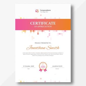 Modello di certificato verticale