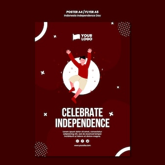 Modello di concetto del manifesto del giorno dell'indipendenza dell'indonesia