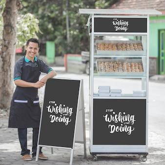 Modello di concetto di bancarella di cibo di strada