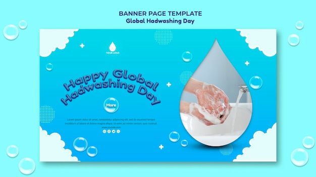 Modello di concetto di banner di giorno di lavaggio delle mani globale