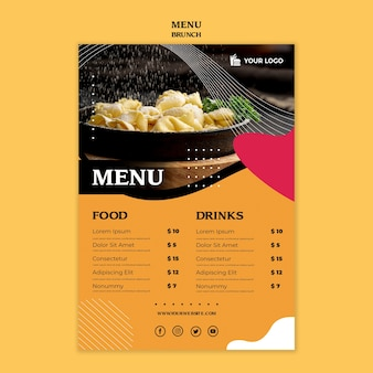 Modello di concetto di menu del brunch