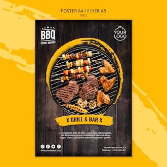 Modello di concetto di poster con barbecue