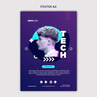 Modello di concetto di poster tech & futuro
