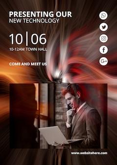 Modello di copertina a4 con sfondo astratto tecnologia