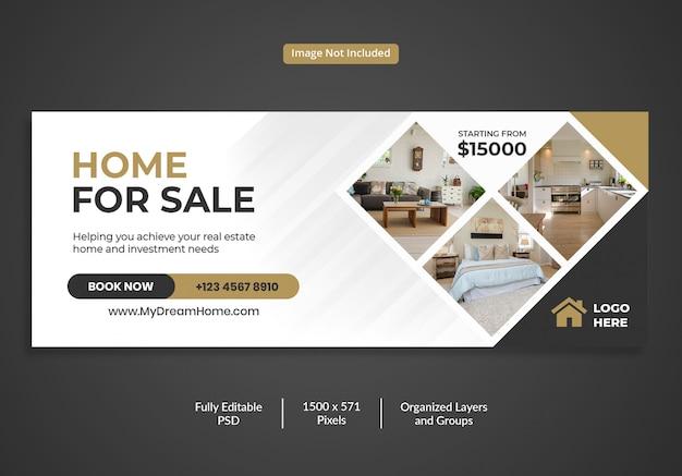 Modello di copertina della sequenza temporale di facebook per la vendita di immobili