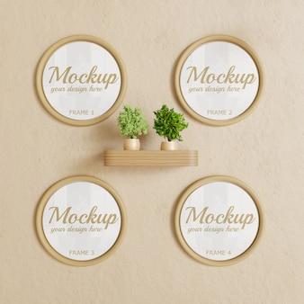Modello di cornice circolare sul muro. mockup di quattro cornice cerchio marrone