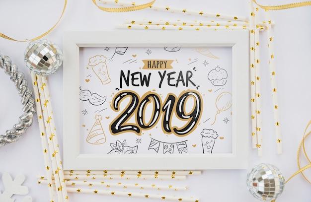 Modello di cornice con decorazione del nuovo anno