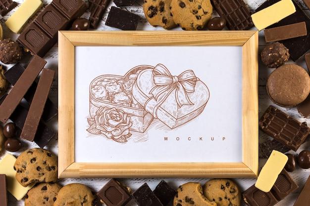 Modello di cornice su sfondo di cioccolato