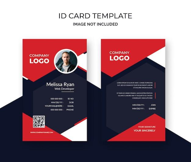 Modello di design elegante carta d'identità rossa