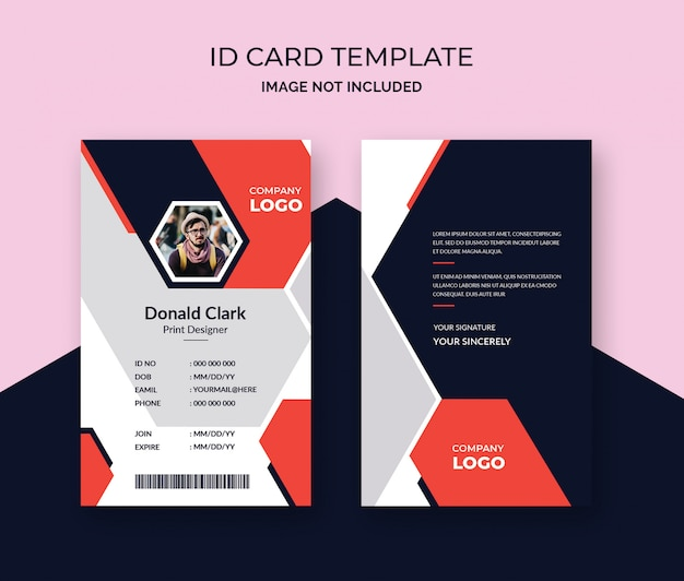 Modello di design elegante carta d'identità
