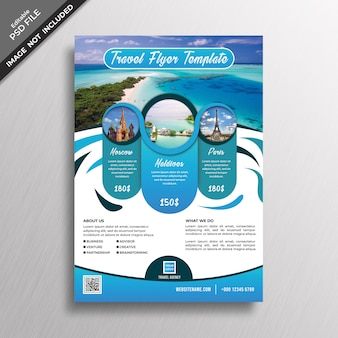 Modello di disegno astratto blu flyer di viaggio