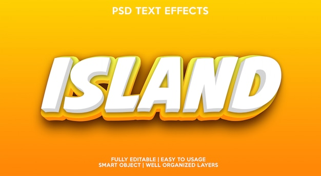 Modello di effetti di testo dell'isola