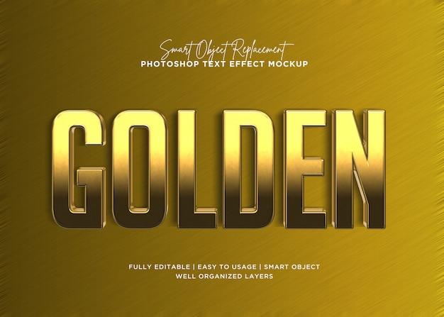 Modello di effetto del testo della barra dorata di stile 3d