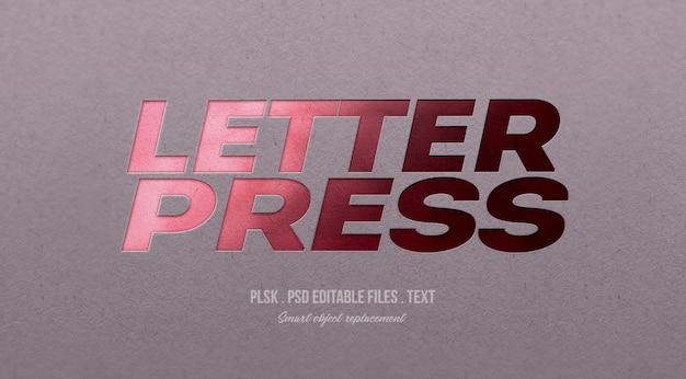 Modello di effetto di stile del testo dello scritto tipografico 3d