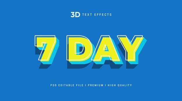 Modello di effetto di stile di testo 3d di 7 giorni