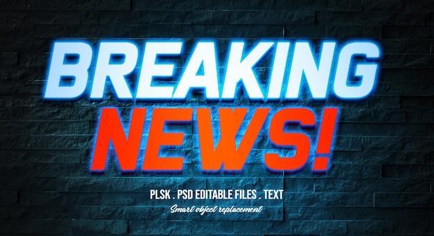 Modello di effetto di stile di testo di breaking news 3d