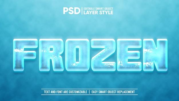 Modello di effetto di testo congelato con blocco di ghiaccio freddo